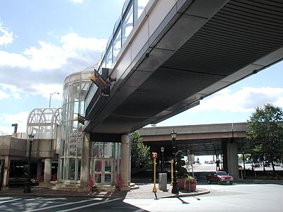 Walkway from I-91 to Monarch Place. Photo by H Brandon
